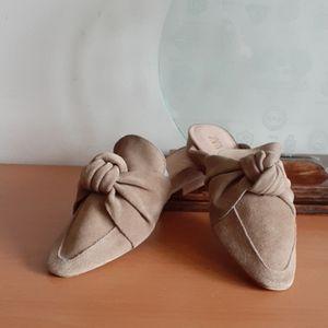 Zara Flat Suede Bow Mules light tan 6